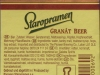 Staropramen Granát Beer ▶ Gallery 341 ▶ Image 799 (Back Label • Контрэтикетка)