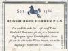 Riegele Augsburger Herren Pils ▶ Gallery 1997 ▶ Image 6742 (Back Label • Контрэтикетка)