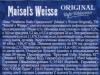 Maisel's Weisse Original Hefe-Weissebier ▶ Gallery 1183 ▶ Image 8726 (Back Label • Контрэтикетка)