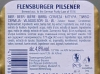 Flensburger Pilsener ▶ Gallery 563 ▶ Image 1553 (Back Label • Контрэтикетка)