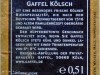 Gaffel Kölsch ▶ Gallery 1384 ▶ Image 4012 (Back Label • Контрэтикетка)