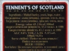 Tennent's of Scotland ▶ Gallery 2945 ▶ Image 10262 (Back Label • Контрэтикетка)
