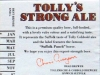 Tolly's Strong Ale ▶ Gallery 1963 ▶ Image 6210 (Back Label • Контрэтикетка)